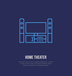 entertainment system with blank screen flat line vector image vector image