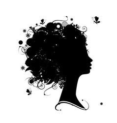 Female profile silhouette vector image vector image