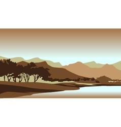 Forest sunset landscape vector