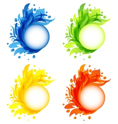 Four seasonal flourish colorful frames isolated vector