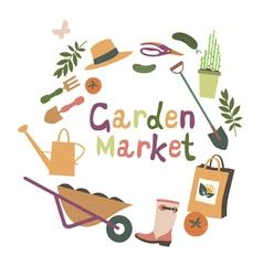 Garden market design vector