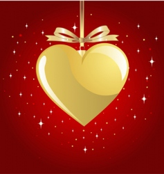 gold Valentine's heart vector image vector image