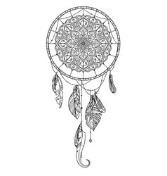 hand drawn dreamcatcher with feather of birds vector image vector image