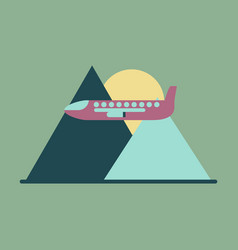 Icon flat design for airport plane in mountains vector