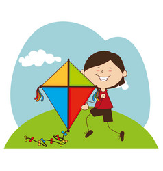 Kid flying kite icon vector