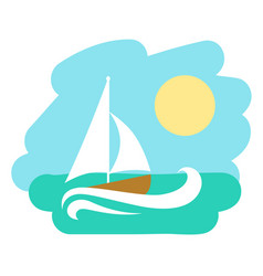 landscape with sailboat icon vector image
