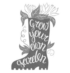 Lettering - grow your own garden with rubber boot vector