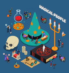 Magical people isometric design vector