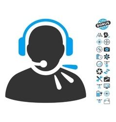 Operator Speech Icon With Air Drone Tools Bonus vector image vector image