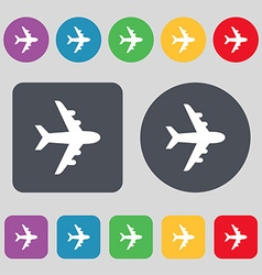 Plane icon sign a set of 12 colored buttons flat vector