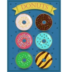 Poster with colorful donuts vector image