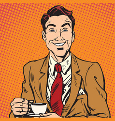 printavatar portrait of man drinking coffee vector image
