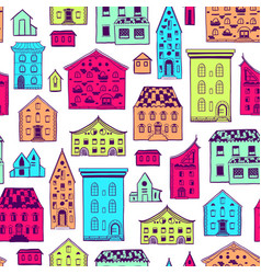 seamless pattern color houses-01 vector image vector image