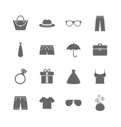 Set of clothes accessories and glasses icons vector