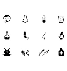 Set of illness concept icons vector