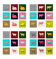 Set of in flat style rabbit cow goat sheep vector