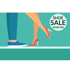 Shoe sale now shopping banner with human legs vector