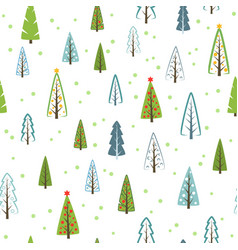 various christmas trees seamless pattern for gifts vector image vector image
