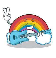 with guitar colorful rainbow character cartoon vector image