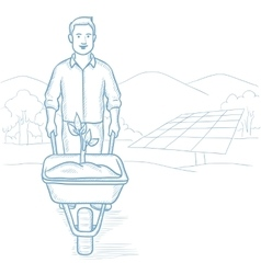 Worker of solar power plant with sprout in cart vector
