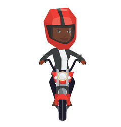 Young african-american woman riding motorcycle vector