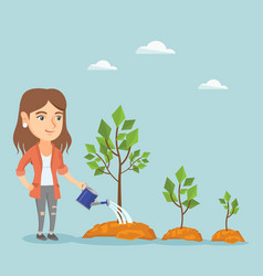 Young caucasian business woman watering trees vector