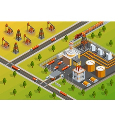 Oill Industry Refinery Facility Isometric Poster vector image