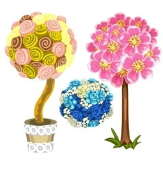 Two unusual tree and bouquet of blue roses vector