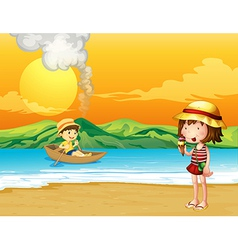 A boy in a wooden boat and a girl at the seashore vector image