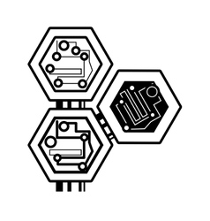 Computer circuit hexagon electronic component vector