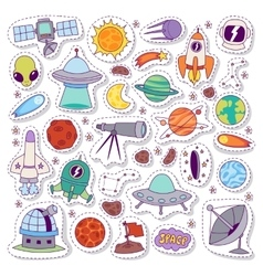 Solar system astronomy icons stickers set vector