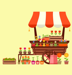 Flower stand with spring garden flowers vector