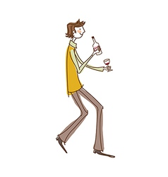 Side view of man holding wineglass vector