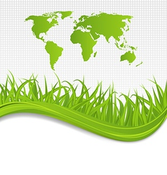 Nature background with map earth and grass vector