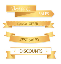 sale banner design collection of golden banners vector image