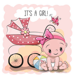 Greeting card it is a girl with baby vector