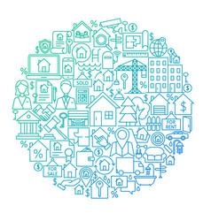 Real estate line circle design vector