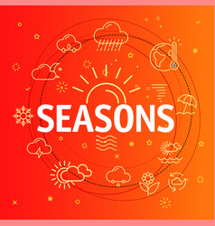 Seasons concept different thin line icons included vector