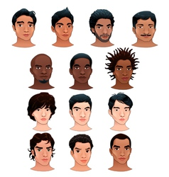 Indian black asian and latino men vector image