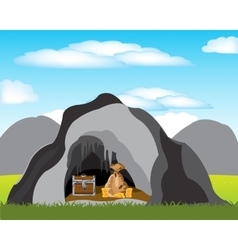 Cave with treasure vector