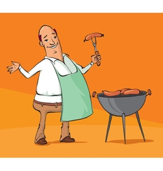 Man grilling sausages on the barbecue vector
