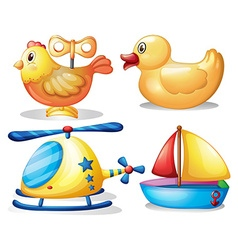 Toy set with animals and transportation vector