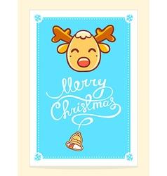 Yellow christmas deer with white hand wri vector