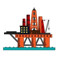 Colorful sketch of sea oil platform vector