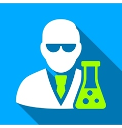 Scientist with flask flat long shadow square icon vector