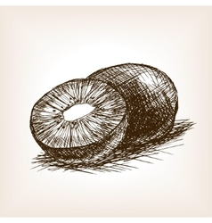Kiwi fruit hand drawn sketch style vector