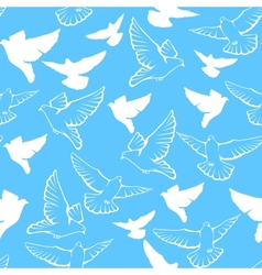 Seamless pattern of a flock flying pigeons vector