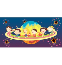 Diverse kids in space vector