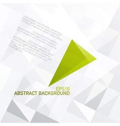 Green abstract triangle symbol on light gray vector