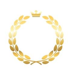 Gold laurel wreath crown emblem vector